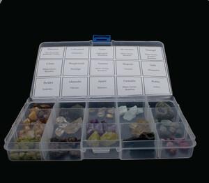 Samling, 15 rå -mineral -ädelstenar